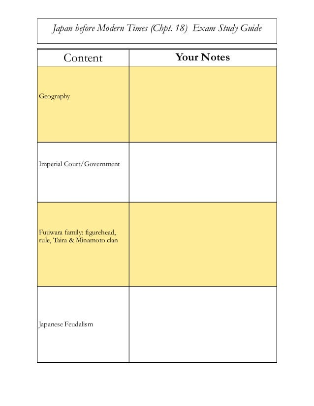 Content Your Notes Geography Imperial Court/Government Fujiwara family: figurehead, rule, Taira & Minamoto clan Japanese F...