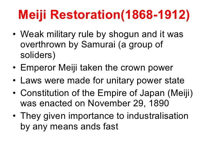 meiji restoration 1868 1912 essay Meiji restoration the meiji restoration was an important series of events which brought about numerous political, social, economic and military changes it was also a transfer of power from the tokugawa bakufu to a new group of political elite called the genro.