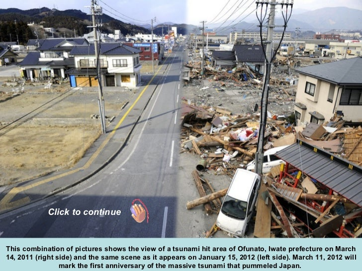 This combination of pictures shows the view of a tsunami hit area of Ofunato, Iwate prefecture on March 14, 2011 (right si...