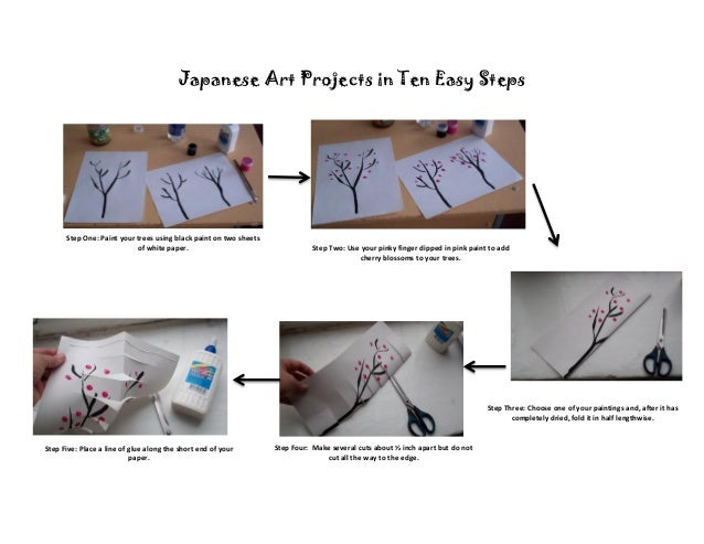 Japanese Art Projects in Ten Easy Steps      Step One: Paint your trees using black paint on two sheets                   ...
