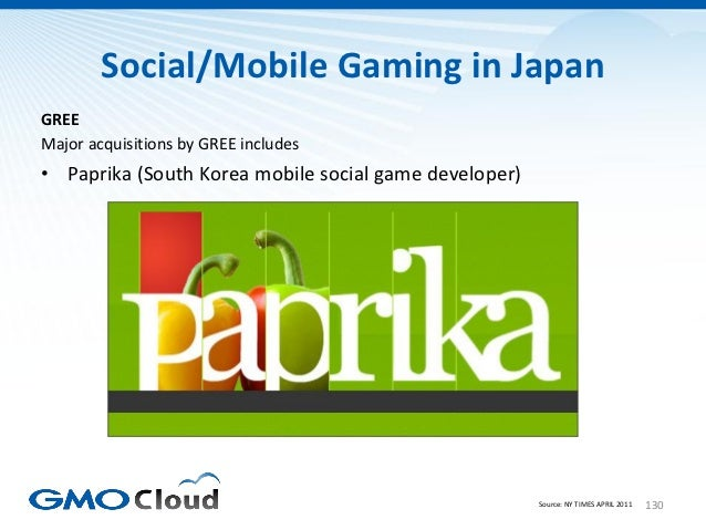 Social/Mobile Gaming in JapanGREEMajor acquisitions by GREE includes• Paprika (South Korea mobile social game developer)  ...