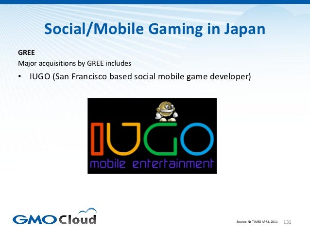 Social/Mobile Gaming in JapanGREEMajor acquisitions by GREE includes• IUGO (San Francisco based social mobile game develop...