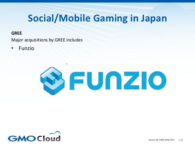 Social/Mobile Gaming in JapanGREEMajor acquisitions by GREE includes• Funzio                                      Source: ...