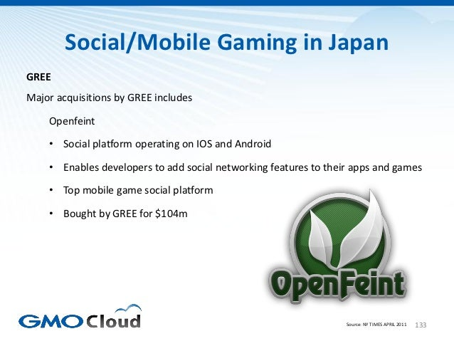 Social/Mobile Gaming in JapanGREEMajor acquisitions by GREE includes    Openfeint    • Social platform operating on IOS an...