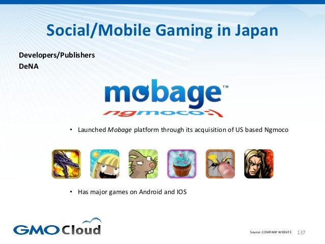 Social/Mobile Gaming in JapanDevelopers/PublishersDeNA              • Launched Mobage platform through its acquisition of ...