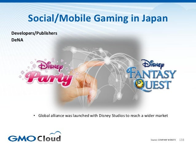 Social/Mobile Gaming in JapanDevelopers/PublishersDeNA          • Global alliance was launched with Disney Studios to reac...