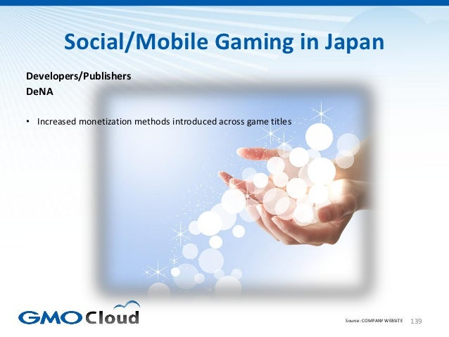 Social/Mobile Gaming in JapanDevelopers/PublishersDeNA• Increased monetization methods introduced across game titles      ...