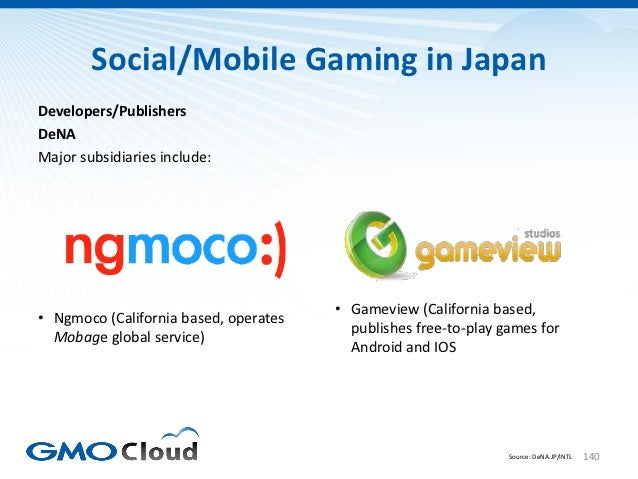 Social/Mobile Gaming in JapanDevelopers/PublishersDeNAMajor subsidiaries include:                                       • ...