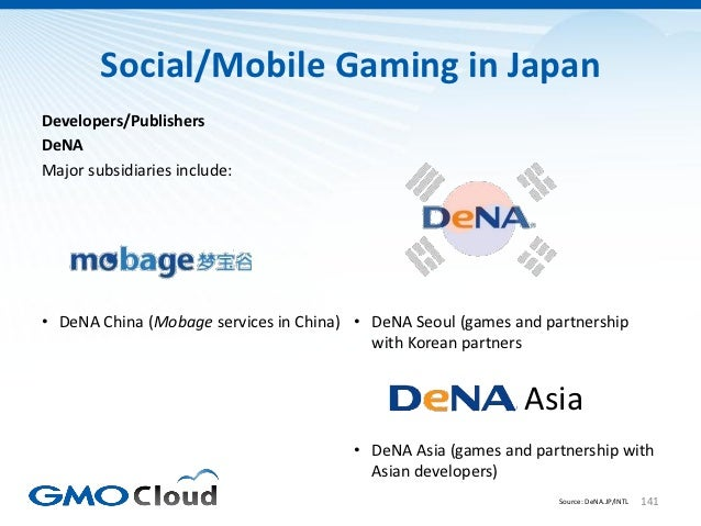 Social/Mobile Gaming in JapanDevelopers/PublishersDeNAMajor subsidiaries include:• DeNA China (Mobage services in China) •...