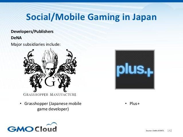 Social/Mobile Gaming in JapanDevelopers/PublishersDeNAMajor subsidiaries include:    • Grasshopper (Japanese mobile   • Pl...