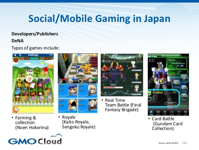 Social/Mobile Gaming in JapanDevelopers/PublishersDeNATypes of games include:                                          • R...