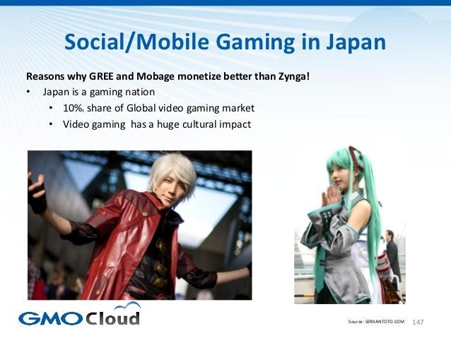Social/Mobile Gaming in JapanReasons why GREE and Mobage monetize better than Zynga!• Japan is a gaming nation    • 10%₁ s...