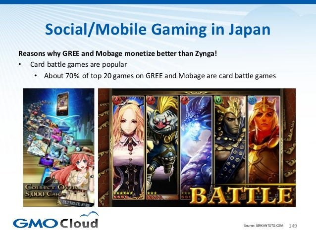 Social/Mobile Gaming in JapanReasons why GREE and Mobage monetize better than Zynga!• Card battle games are popular    • A...