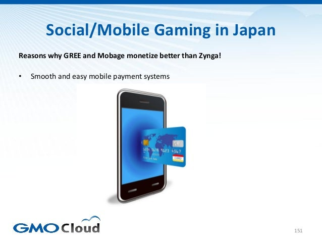 Social/Mobile Gaming in JapanReasons why GREE and Mobage monetize better than Zynga!•   Smooth and easy mobile payment sys...