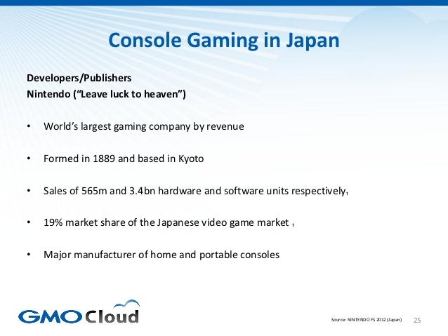 """Console Gaming in JapanDevelopers/PublishersNintendo (""""Leave luck to heaven"""")•   World's largest gaming company by revenue..."""