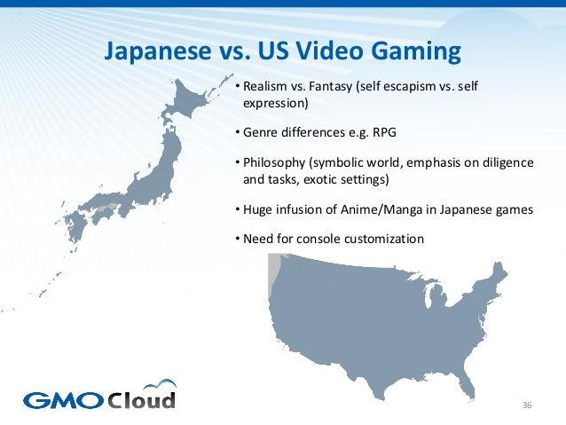 Japanese vs. US Video Gaming          • Realism vs. Fantasy (self escapism vs. self            expression)          • Genr...