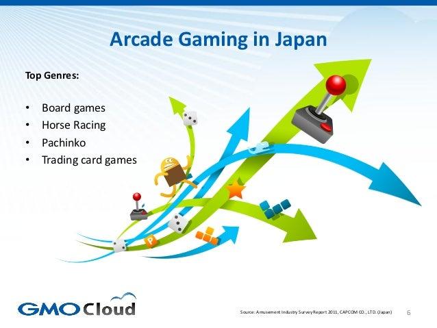 Arcade Gaming in JapanTop Genres:•   Board games•   Horse Racing•   Pachinko•   Trading card games                        ...