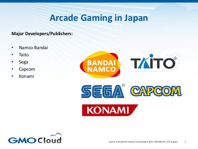 Arcade Gaming in JapanMajor Developers/Publishers:•   Namco Bandai•   Taito•   Sega•   Capcom•   Konami                   ...