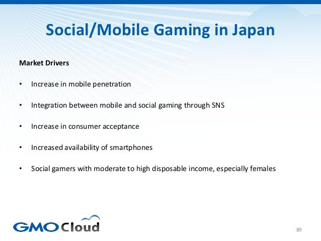Social/Mobile Gaming in JapanMarket Drivers•   Increase in mobile penetration•   Integration between mobile and social gam...