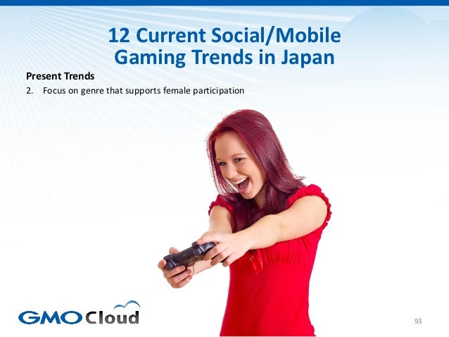 12 Current Social/Mobile                    Gaming Trends in JapanPresent Trends2. Focus on genre that supports female par...
