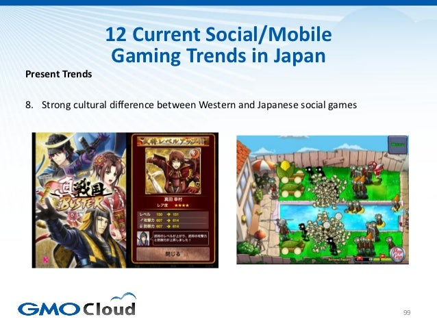 12 Current Social/Mobile                  Gaming Trends in JapanPresent Trends8. Strong cultural difference between Wester...