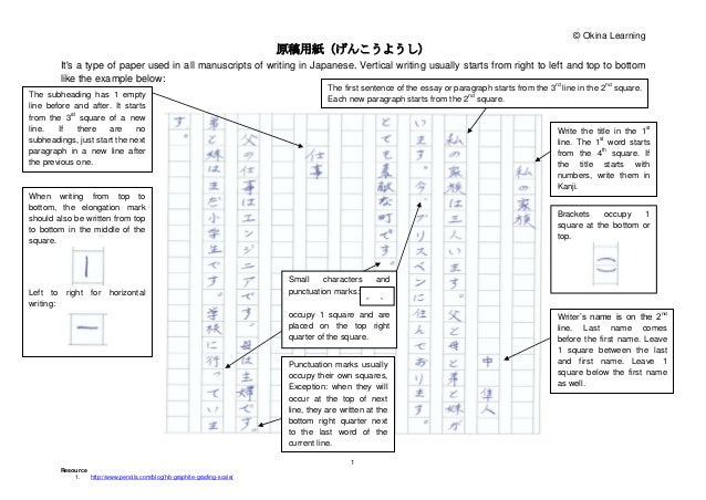 ese genkouyoushi and essay tips  ese genkouyoushi and essay tips © okina learning 原稿用紙(げんこうようし) it s a type of paper