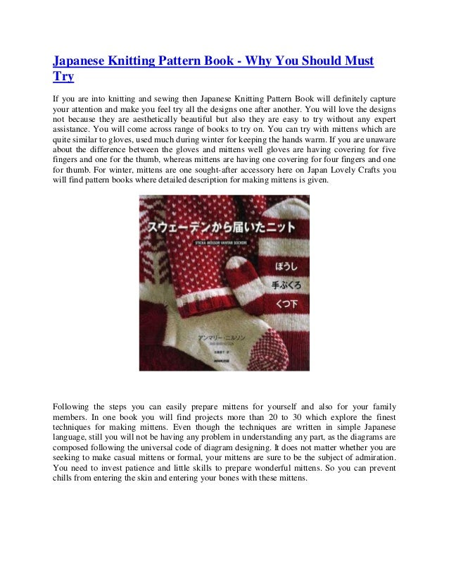 Japanese Knitting Pattern Book - Why You Should Must Try If you are into knitting and sewing then Japanese Knitting Patter...