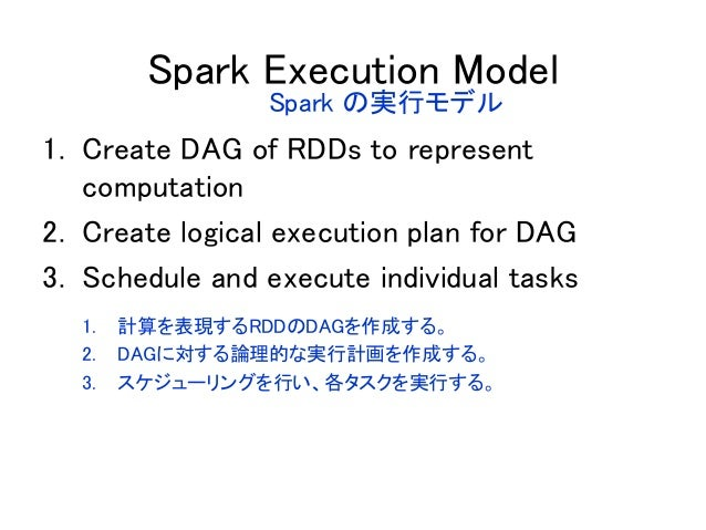 Spark Execution Model 1. Create DAG of RDDs to represent computation 2. Create logical execution plan for DAG 3. Schedule ...
