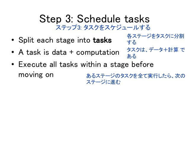 • Split each stage into tasks • A task is data + computation • Execute all tasks within a stage before moving on Step 3: S...