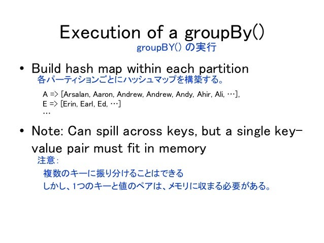 Execution of a groupBy() • Build hash map within each partition • Note: Can spill across keys, but a single key- value pai...