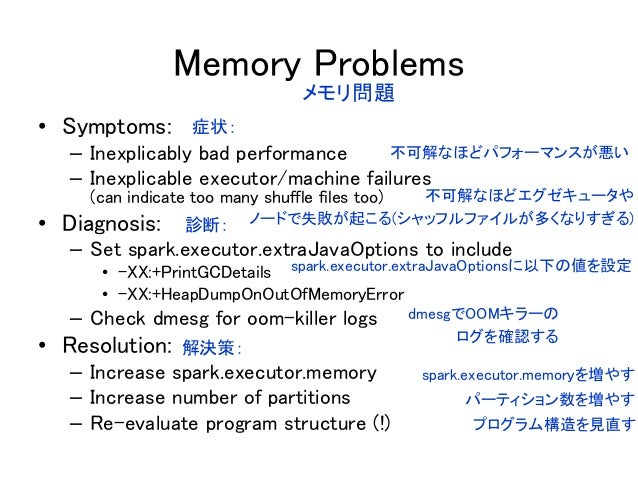 Memory Problems • Symptoms: – Inexplicably bad performance – Inexplicable executor/machine failures (can indicate too many...