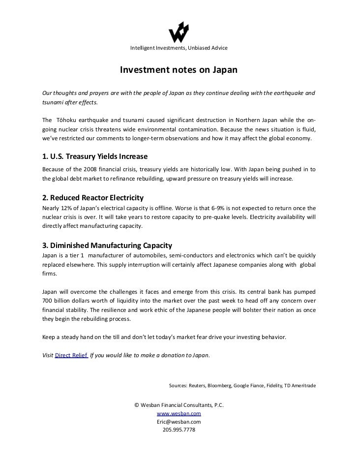Intelligent Investments, Unbiased Advice                                Investment notes on JapanOur thoughts and prayers ...