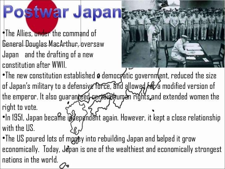 <ul><li>The Allies, under the command of  US General Douglas MacArthur, oversaw  </li></ul><ul><li>Japan  and the drafting...