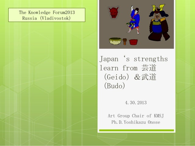 Japan's strengths learn from 芸道 (Geido)&武道 (Budo) 4.30.2013 Art Group Chair of KMSJ Ph.D.Yoshikazu Onose The Knowledge For...
