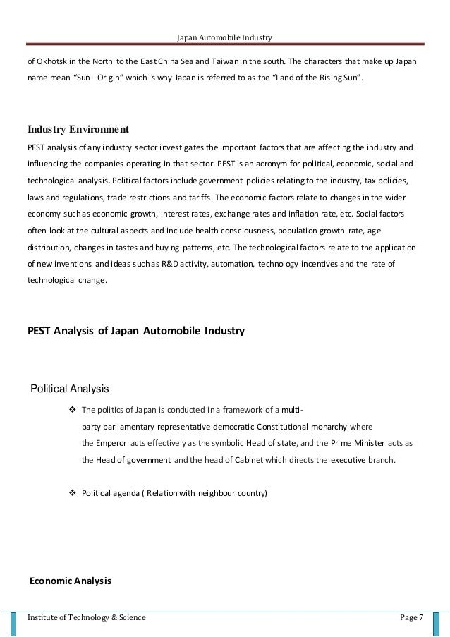 japan and automobile industry essay An essay on the work of kim b clark sylvain lenfle and automobile industry ( abernathy, clark and kantrow, 1983 clark, chew and fujimoto, 1987 clark and fujimoto, 1991) is an this paper showed that, in addition to manufacturing advantages, japanese auto companies also had a substantial.
