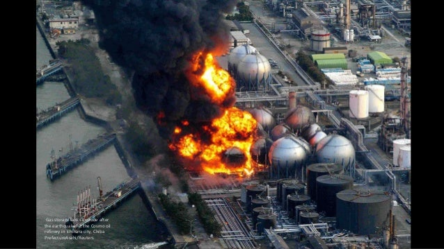 Gas storage tanks explode after the earthquake hit the Cosmo oil refinery in Ichihara city, Chiba PrefectureAsahi/Reuters