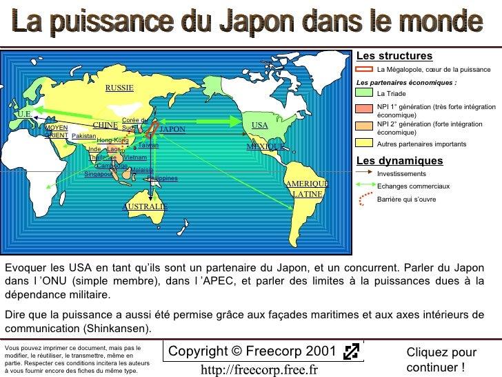 La puissance du Japon dans le monde Copyright © Freecorp 2001 Appuyez sur ESC pour quitter Cliquez pour continuer ! Vous p...