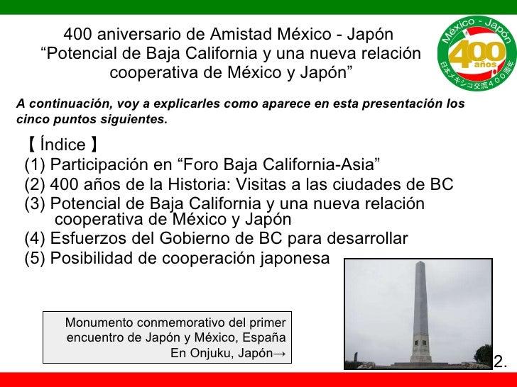 """400 aniversario de Amistad México - Japón  """"Potencial de Baja California y una nueva relación cooperativa de México y Japó..."""