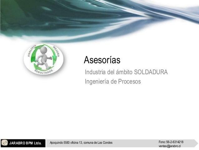 Asesorías                                              Industria del ámbito SOLDADURA                                     ...
