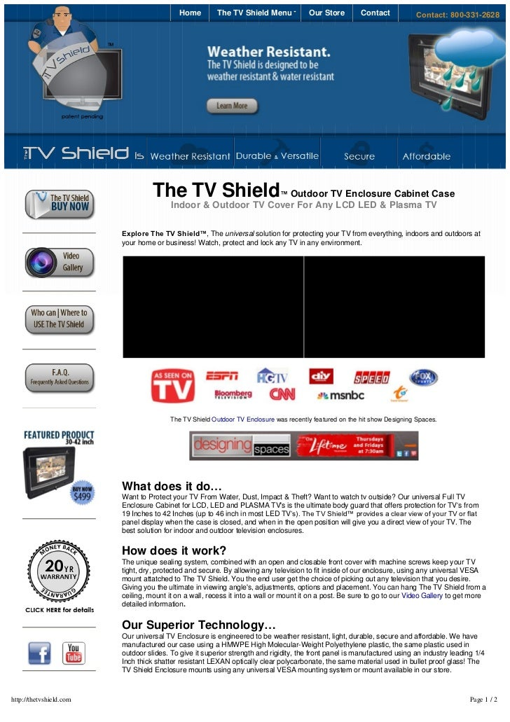 Home         The TV Shield Menu             Our Store         Contact           Contact:800-331-2628                    ...