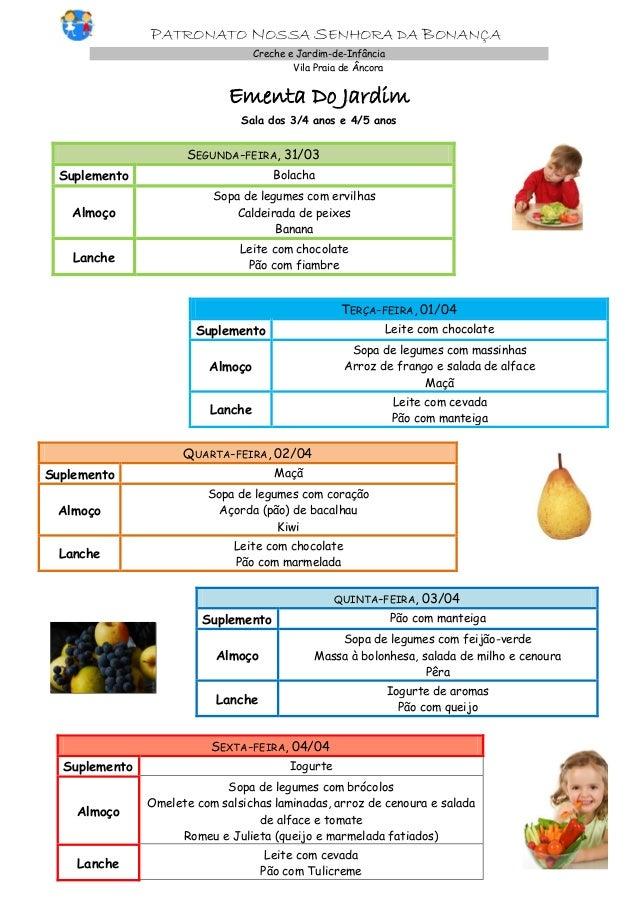 PATRONATO NOSSA SENHORA DA BONANÇA Creche e Jardim-de-Infância Vila Praia de Âncora Ementa Do Jardim Sala dos 3/4 anos e 4...