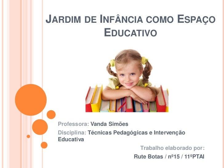 JARDIM DE INFÂNCIA COMO ESPAÇO           EDUCATIVO  Professora: Vanda Simões  Disciplina: Técnicas Pedagógicas e Intervenç...