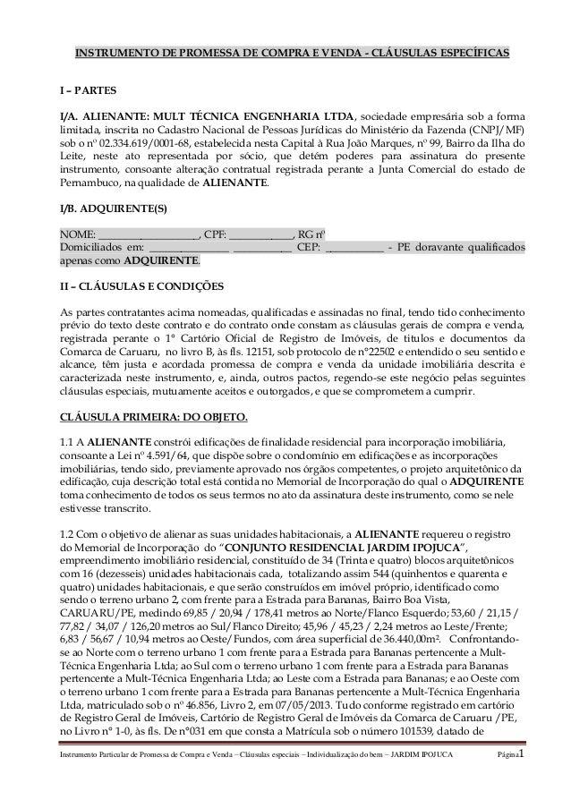 Instrumento Particular de Promessa de Compra e Venda – Cláusulas especiais – Individualização do bem – JARDIM IPOJUCA Pági...