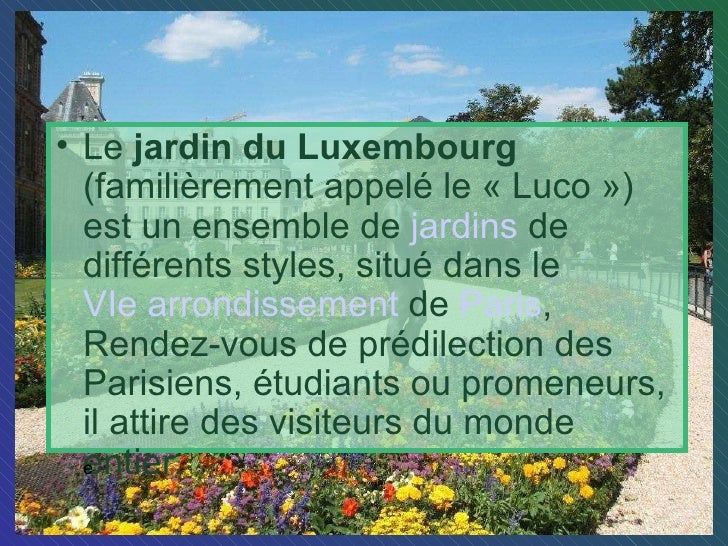 Le jardin du luxembourg - Jardin du luxembourg hours ...