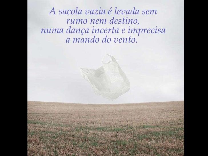 A sacola vazia é levada sem  rumo nem destino,  numa dança incerta e imprecisa  a mando do vento.