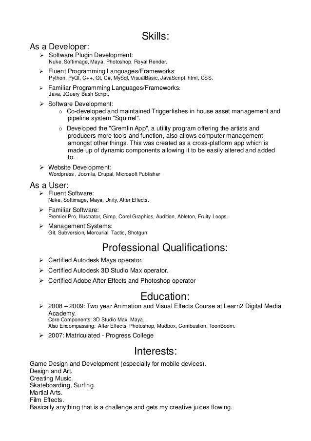 Resume Programming Skills Examples - Contegri.com
