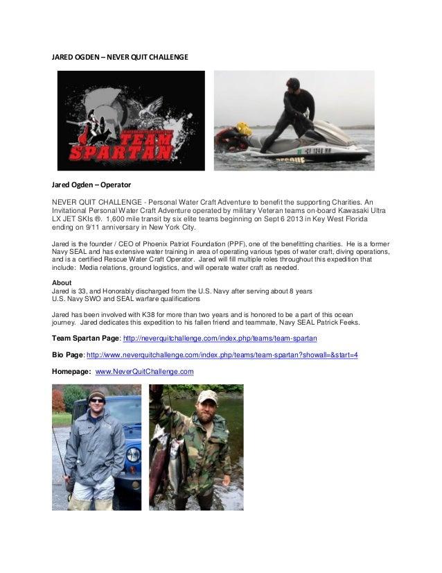 JARED OGDEN – NEVER QUIT CHALLENGE Jared Ogden – Operator NEVER QUIT CHALLENGE - Personal Water Craft Adventure to benefit...