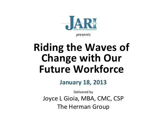 presents	  Riding	  the	  Waves	  of	   Change	  with	  Our	   Future	  Workforce	                            	           ...