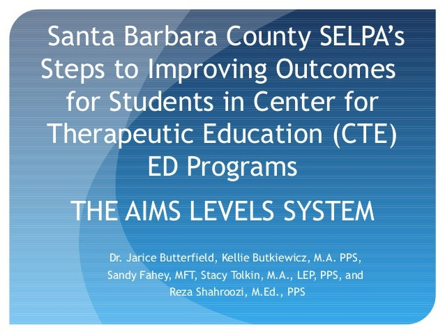 Santa Barbara County SELPA's Steps to Improving Outcomes for Students in Center for Therapeutic Education (CTE) ED Program...