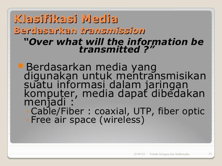"Klasifikasi MediaBerdasarkan transmission ""Over what will the information be            transmitted ?""Berdasarkan  media ..."